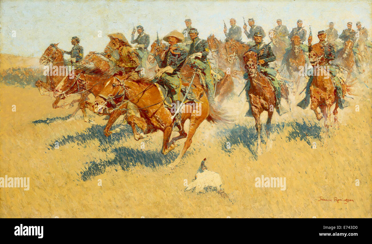 On the Southern Plains - by Frederic Remington, 1907 - Stock Image