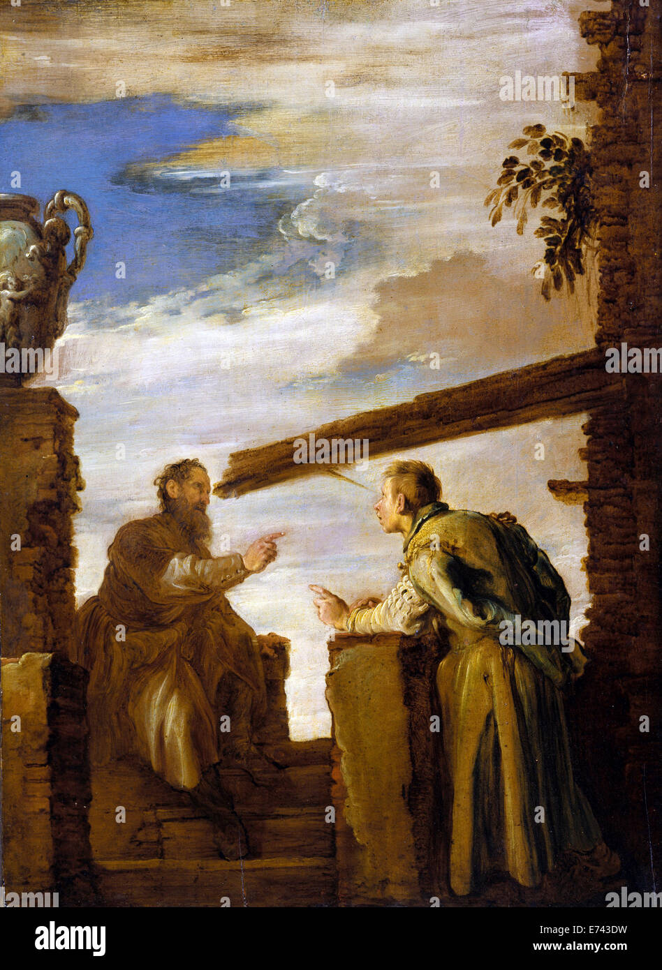 Parable of the Mote and the Beam - by Domenico Fetti, 1619 - Stock Image