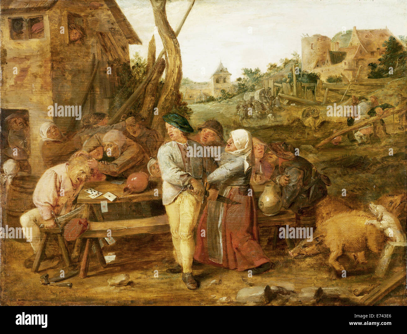 Peasant party - by Adriaen Brouwer, 1620 - 1630 - Stock Image