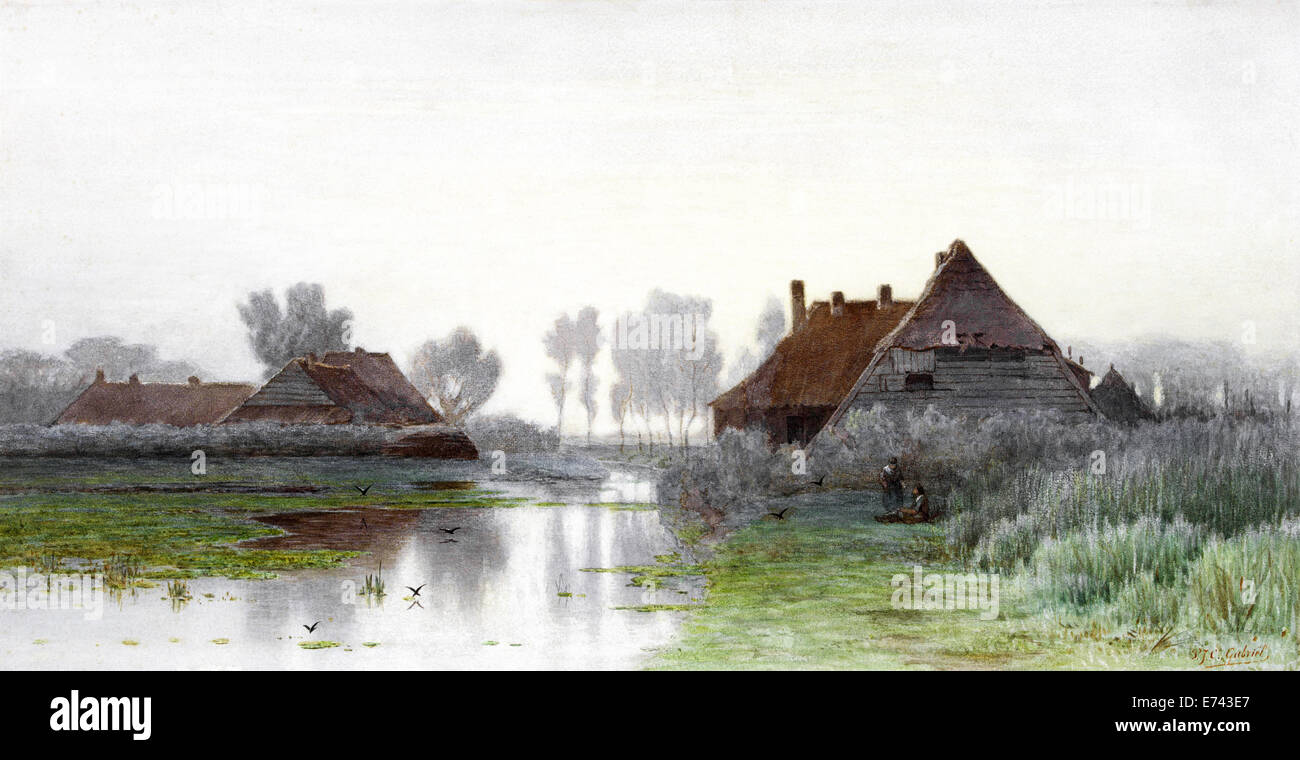 Peasants homes on the water in morning mist - by Paul Joseph Constantin Gabriel, 1838 - 1903 - Stock Image
