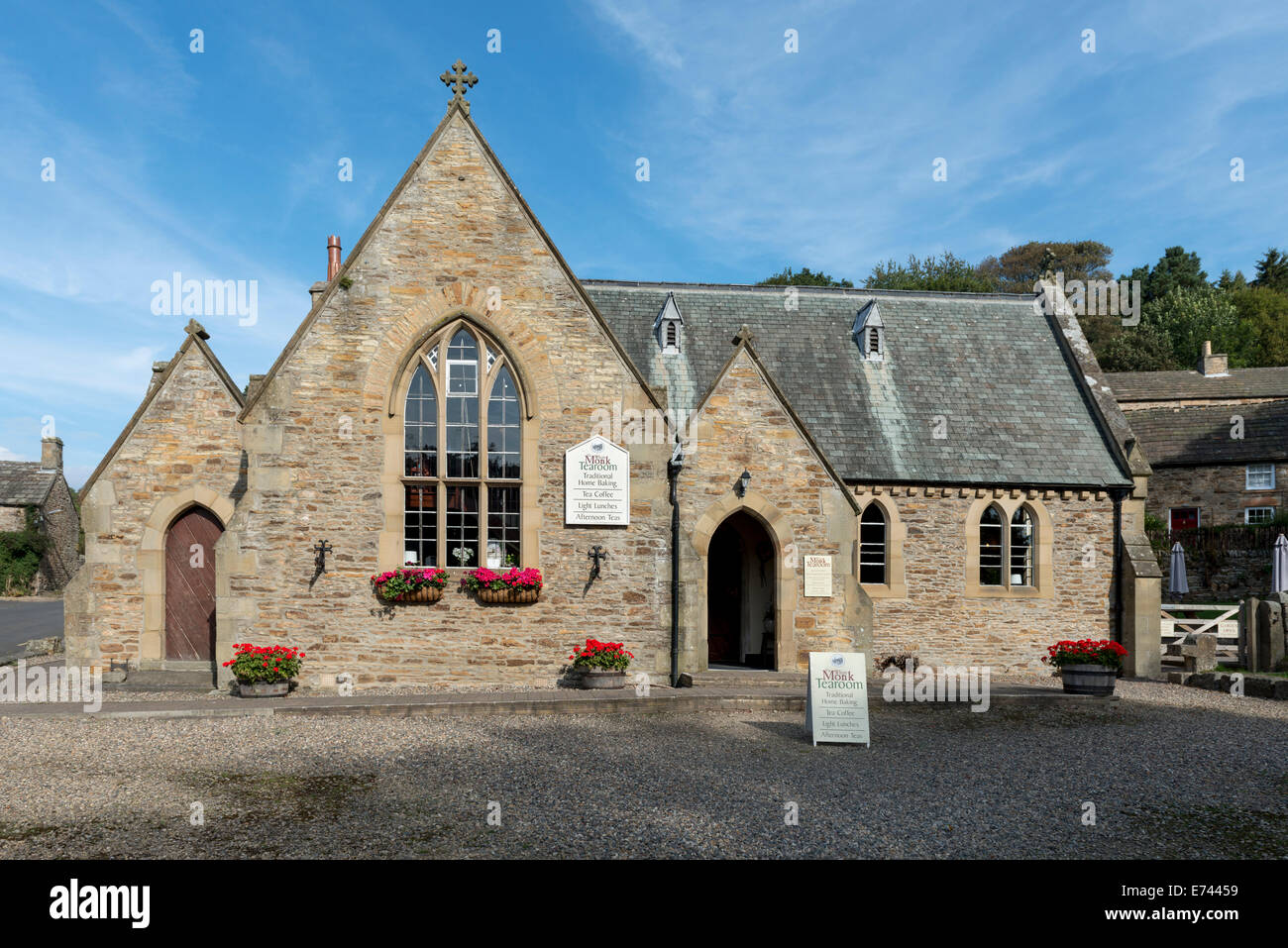 The White Monk tearoom a former school house in the picturesque Northumberland village of Blanchland - Stock Image