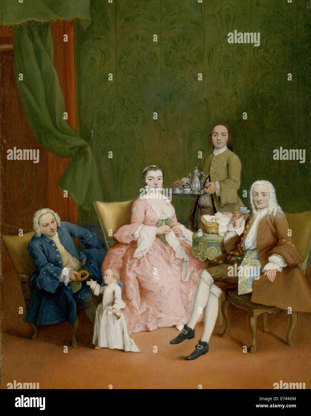 Portrait of a Venetian Family with a Manservant Serving Coffee - by Pietro Longhi,  1752 - Stock Image