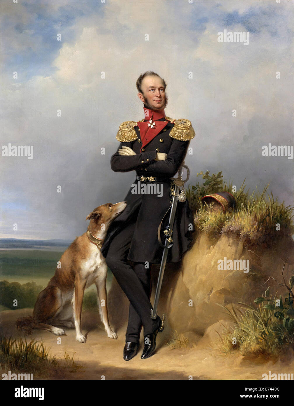Portrait of William II, King of the Netherlands - by Jan Adam Kruseman, 1839 - Stock Image