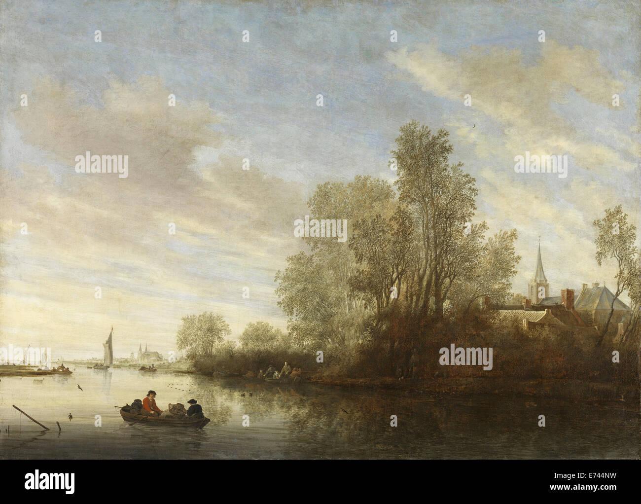 River scene at Deventer - by Salomon van Ruysdael, 1645 Stock Photo