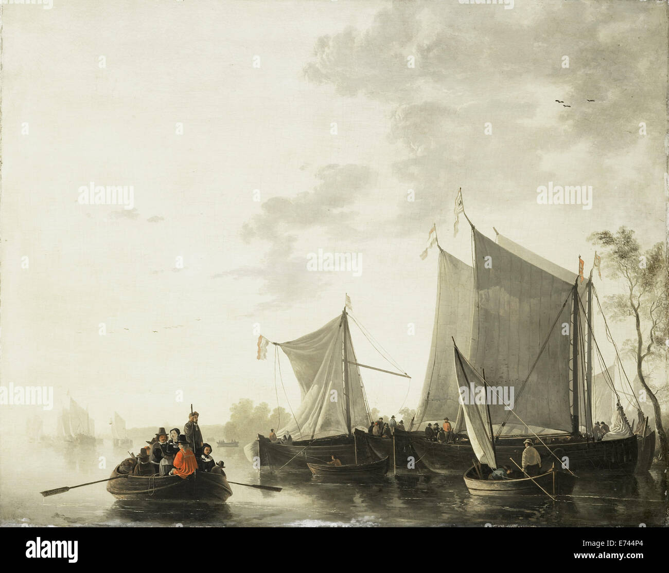 Rivier scene - by Albertus Brondgeest, 1815 - 1849 - Stock Image