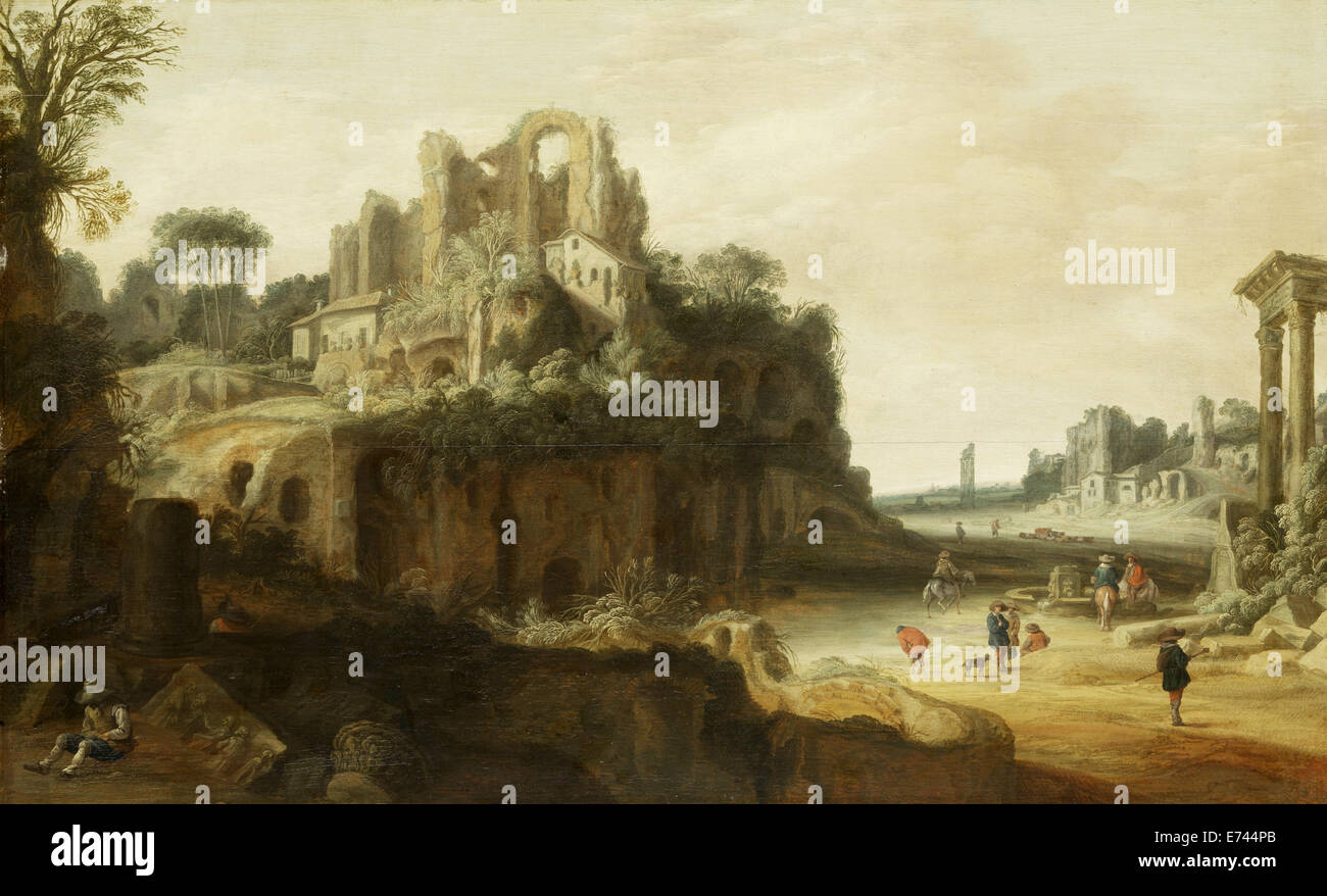 Roman landscape with the left and right portions of the Palatinus, the Roman Forum - by Pieter Anthonisz Groenewegen, - Stock Image