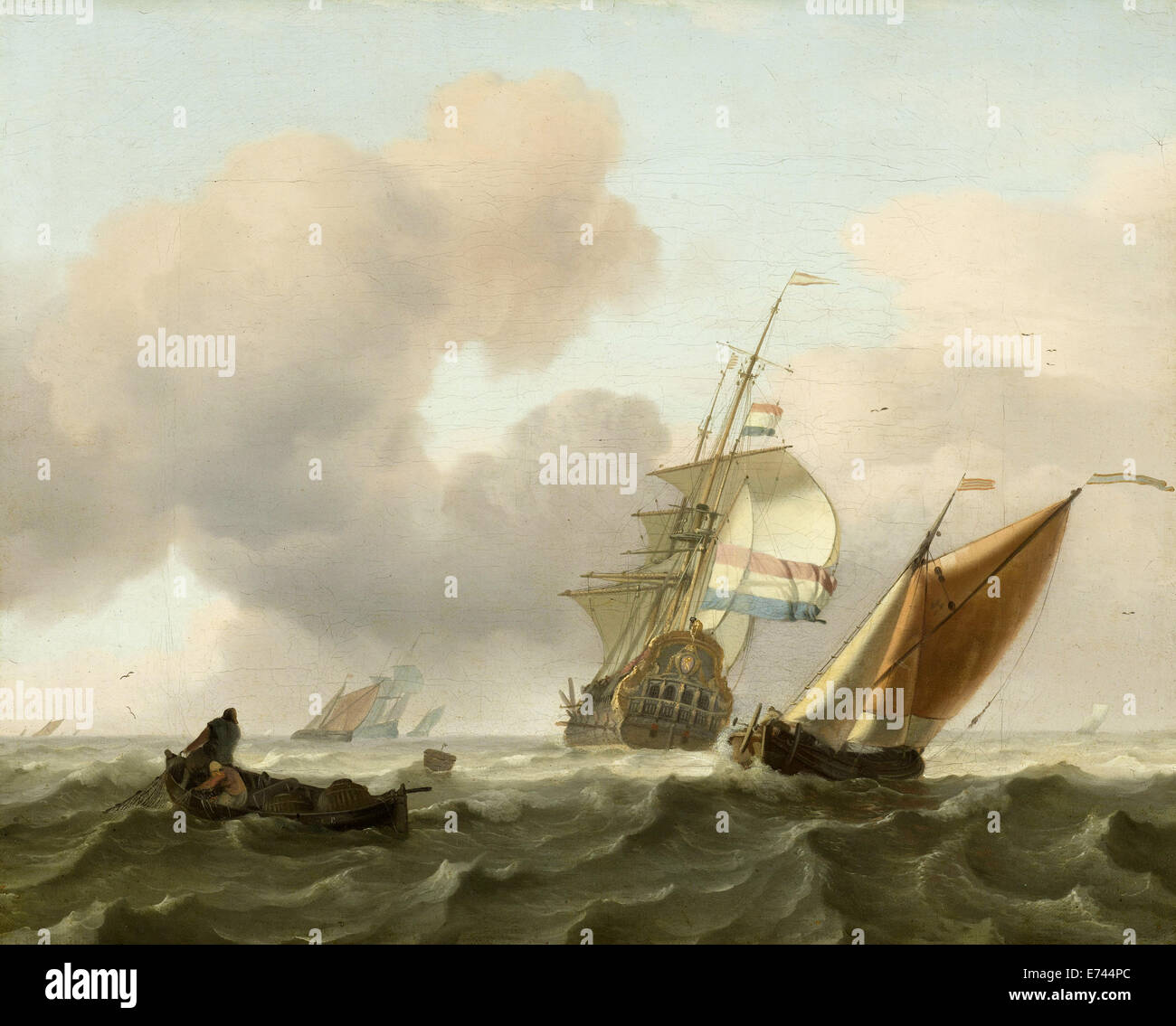 Rough sea with ships - by Ludolf Bakhuysen, 1697 - Stock Image