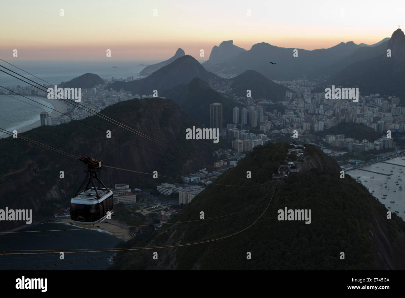 World-known cable car up the hill to the top of Pao de Azucar in Rio de Janeiro, Brazil. - Stock Image