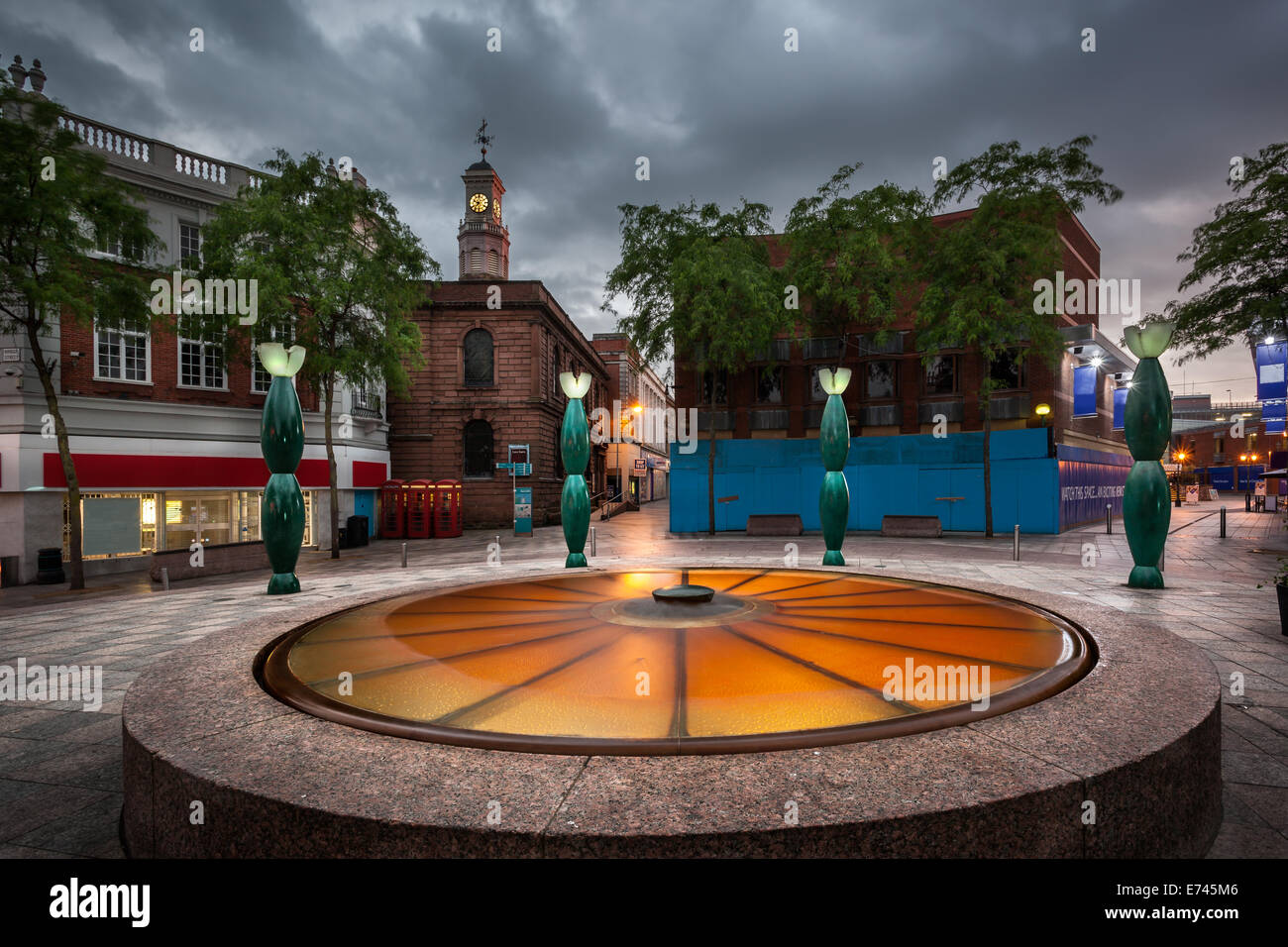 Golden square is one of the main attraction in Warrington Town centre, Cheshire England - Stock Image