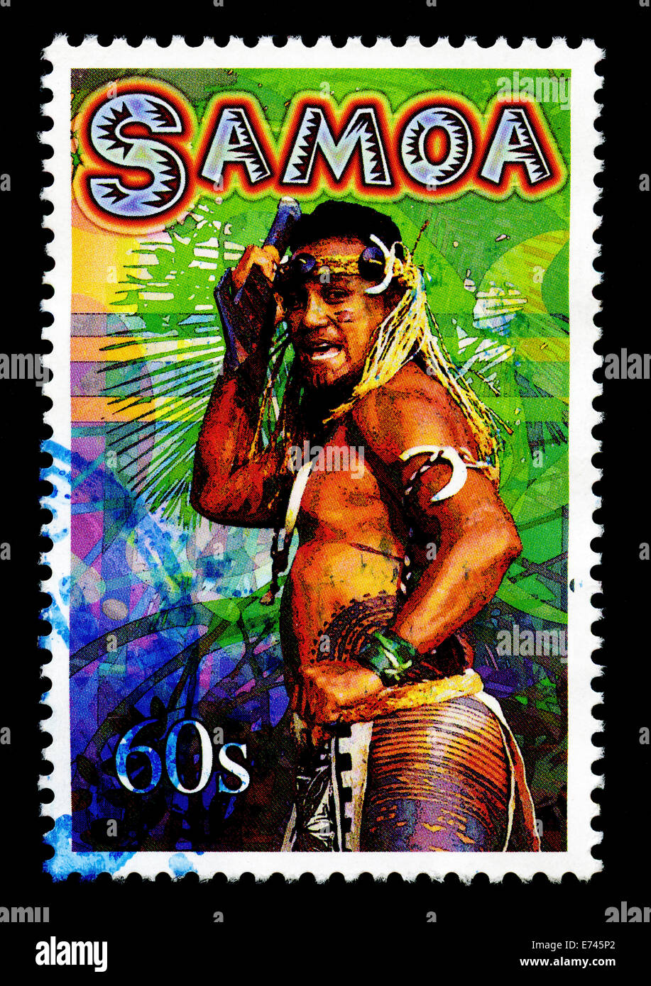 Samoa stamp depicting local people - Stock Image