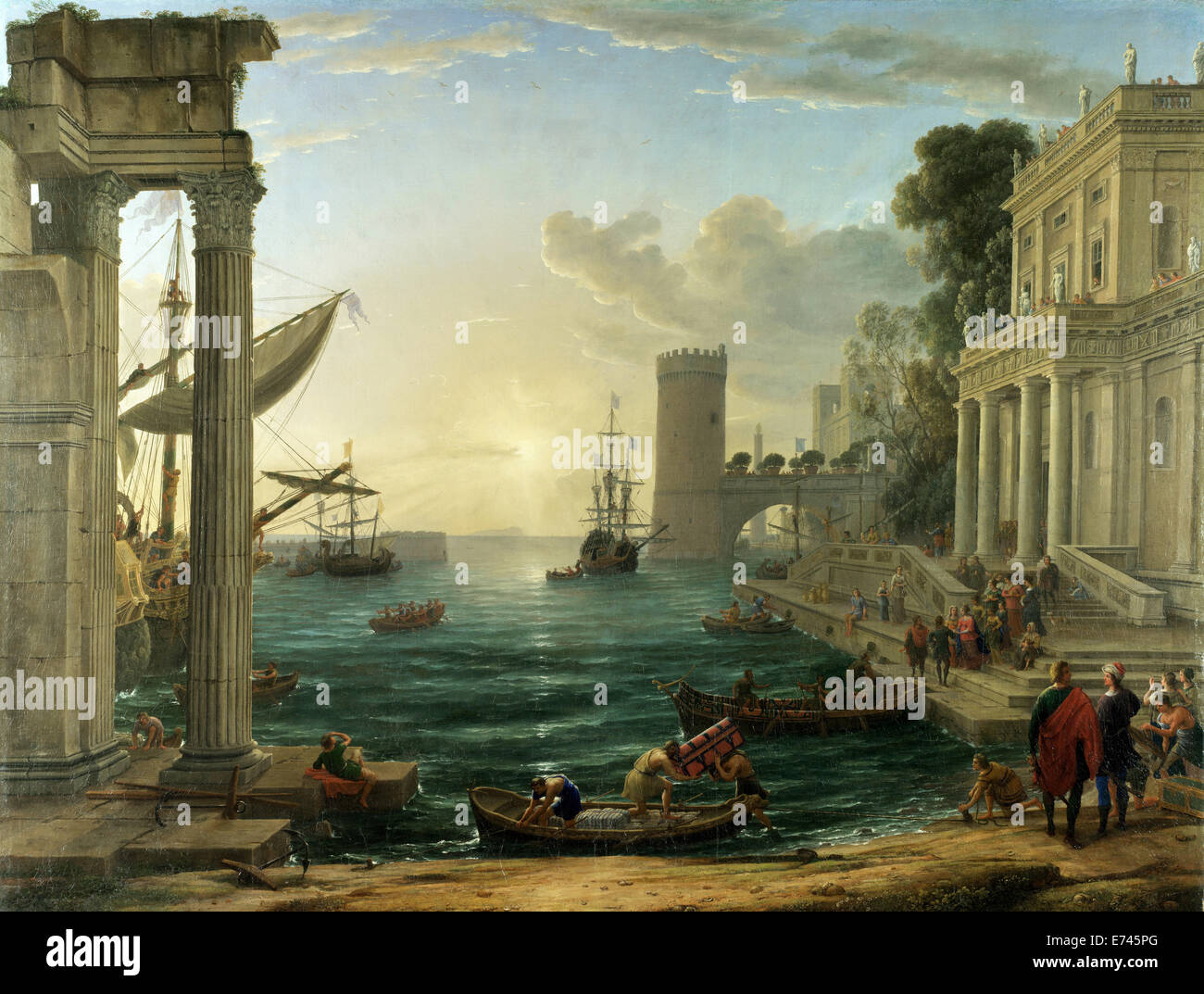 Seaport with the Embarkation of the Queen of Sheba - by Claude Lorrain, 1646 - Stock Image