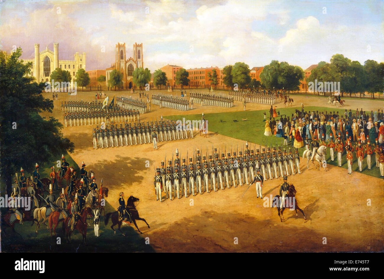 Seventh Regiment on Review, Washington Square, New York - by Otto Boetticher, 1851 - Stock Image