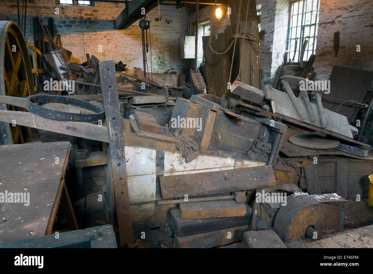 Inside the Grinding Hull at the Abbeydale Industrial Hamlet, Sheffield, Yorkshire, England, UK. - Stock Image