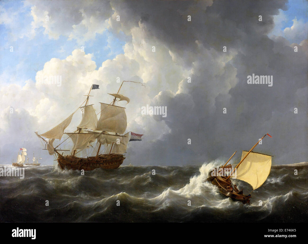 Ships on a tempestuous sea - by Johannes Christiaan Saucer, 1826 - Stock Image