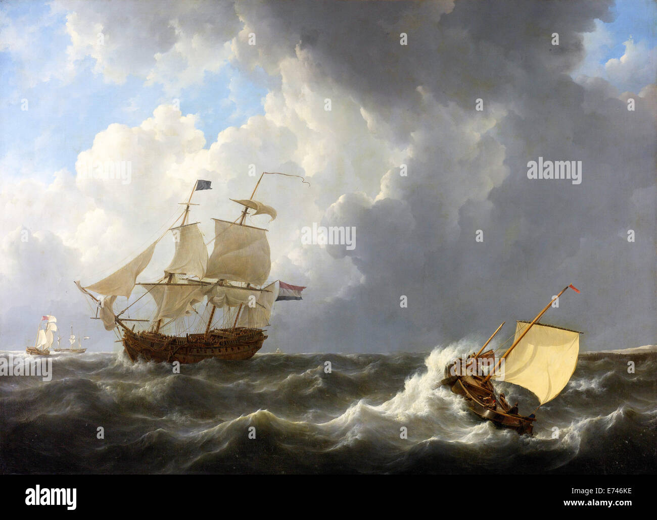 Ships on the rough sea - by Johannes Christiaan Schotel, 1826 - Stock Image