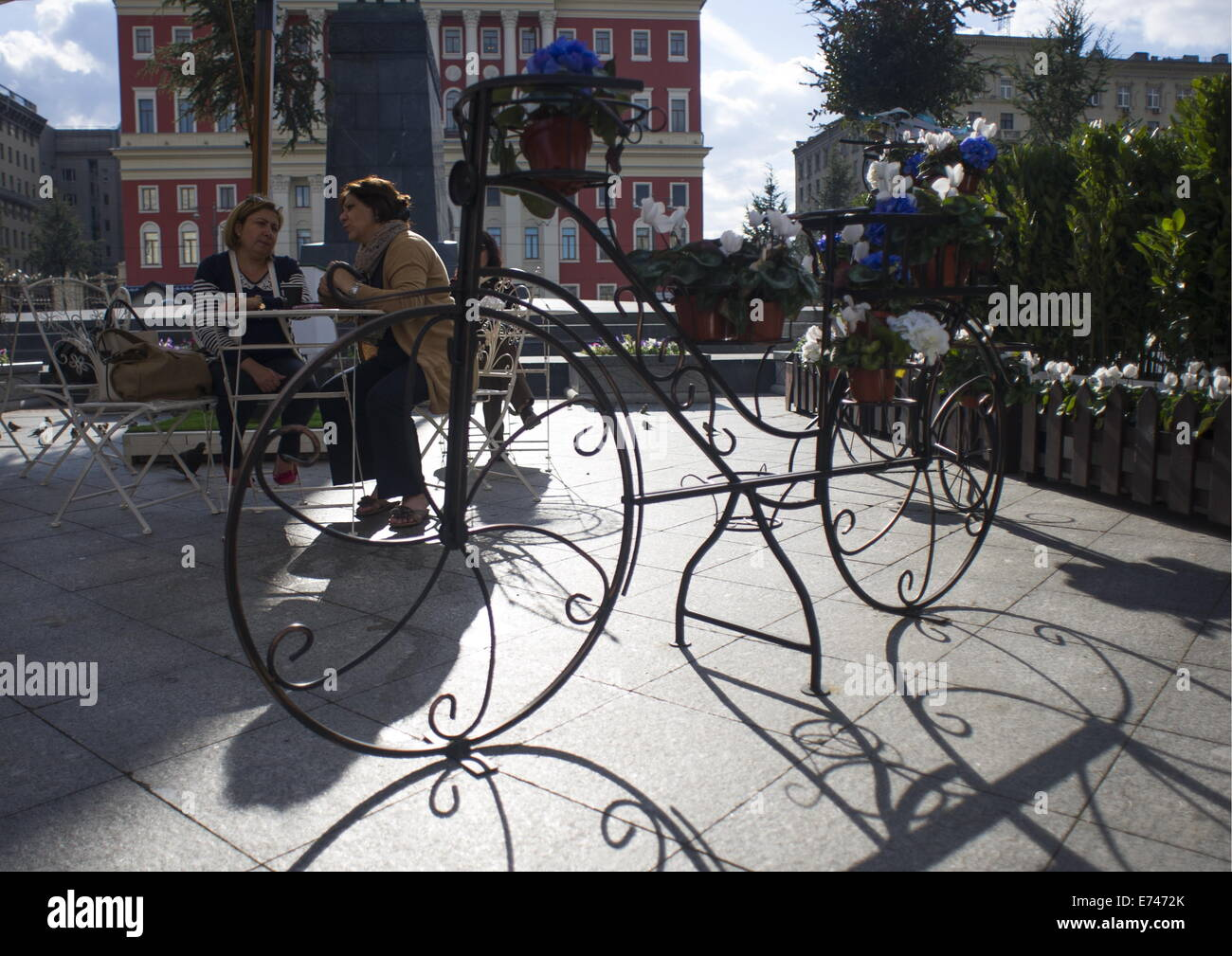 ITAR-TASS: MOSCOW, RUSSIA. SEPTEMBER 4, 2014. Tverskaya Street is decorated ahead of Moscow city day celebration. Stock Photo