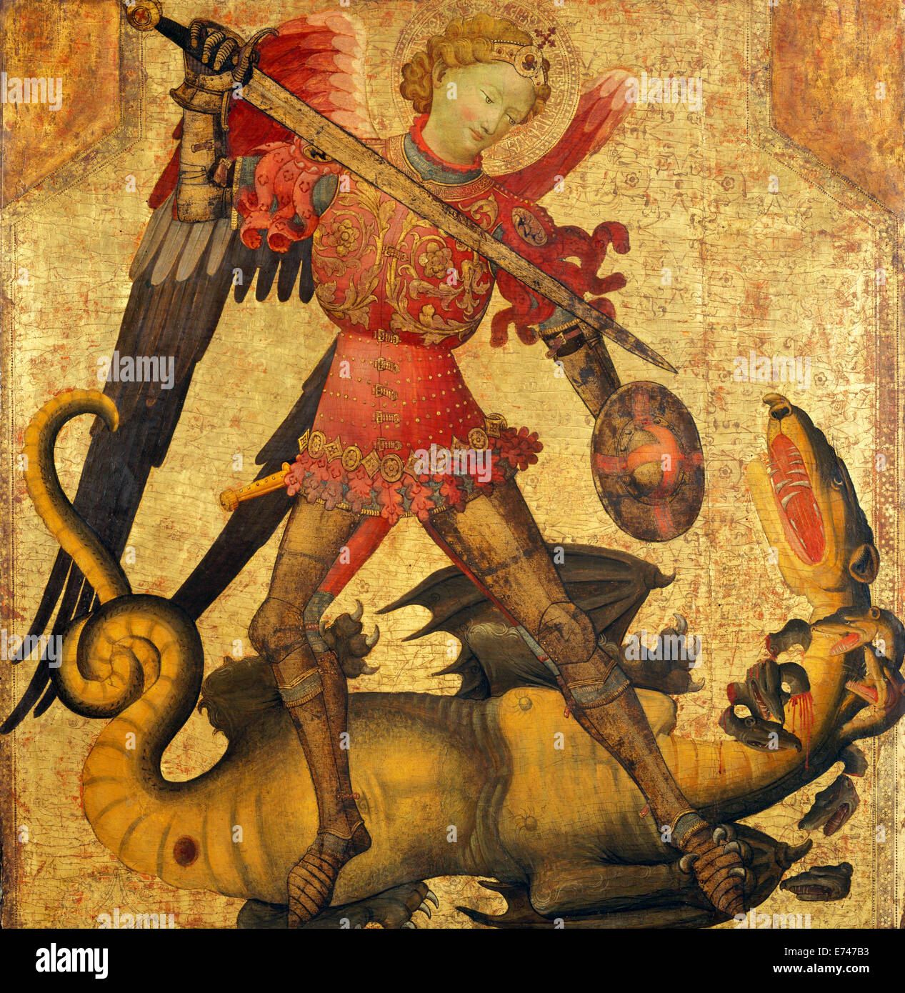 St. Michael and the Dragon - by Unknown Spanish artist, 1405 Stock Photo