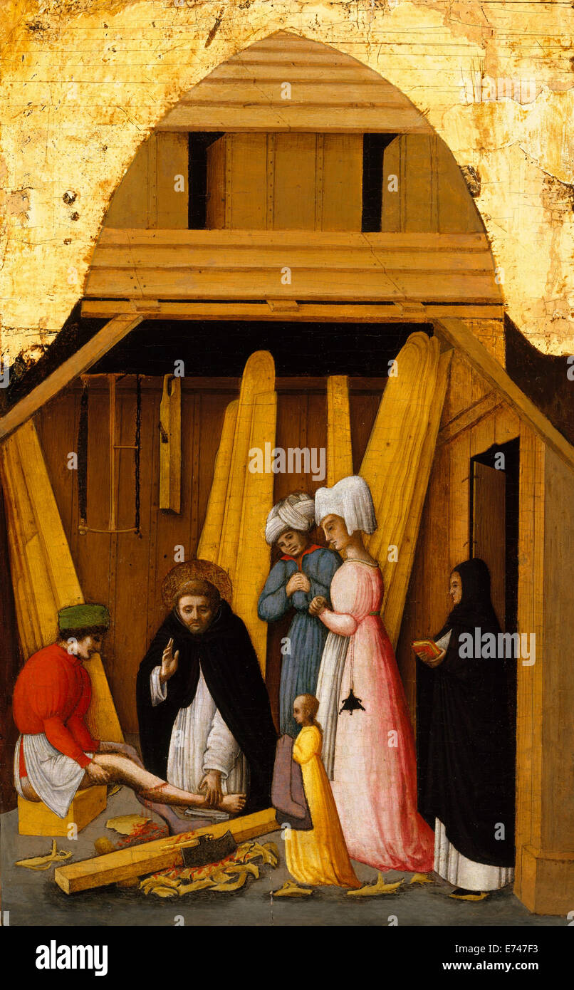 St. Peter Martyr Healing the Leg of a Young Man - by Antonio Vivarini 1450 - Stock Image