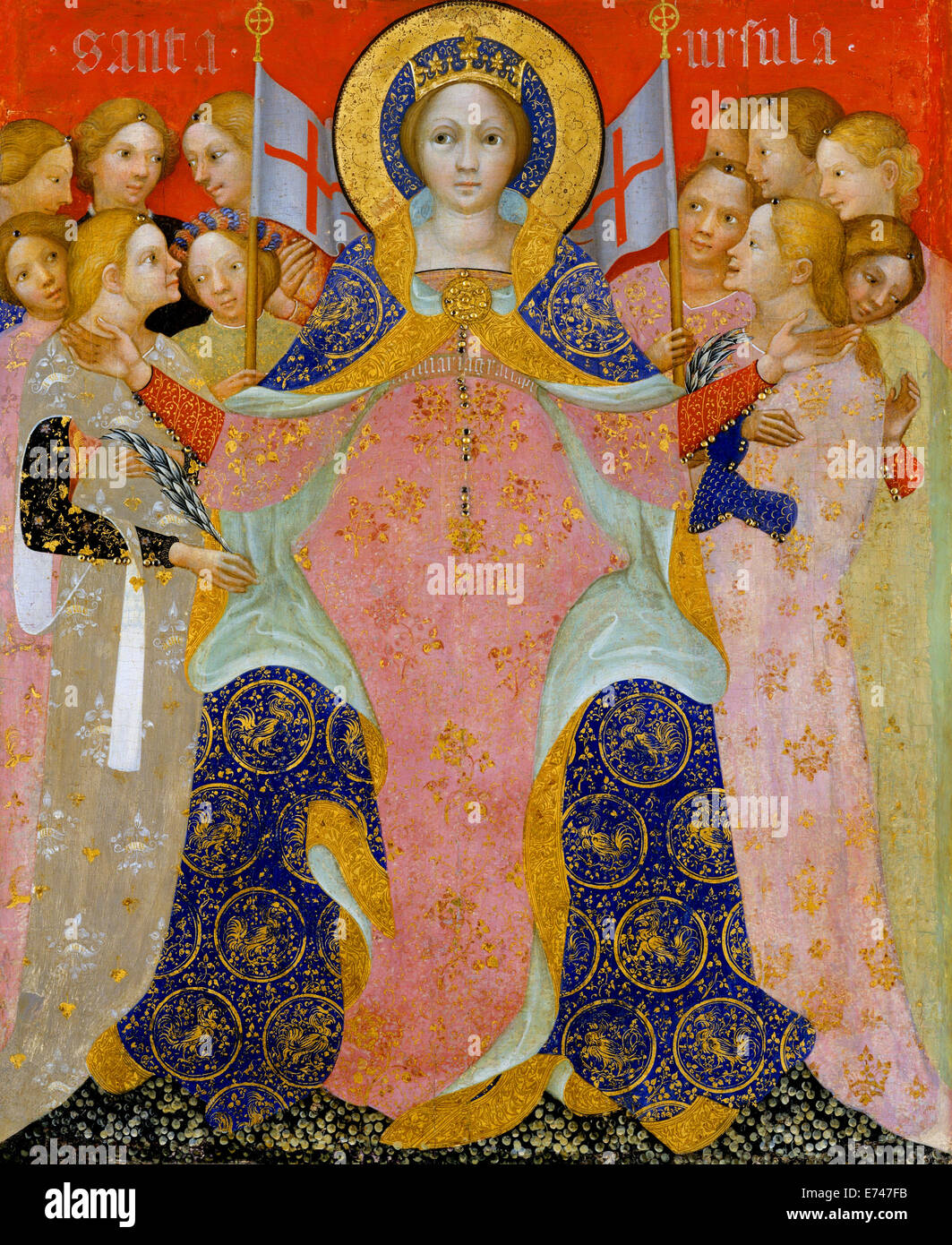 St. Ursula and Her Maidens - by Niccolo di Pietro, 1410 - Stock Image