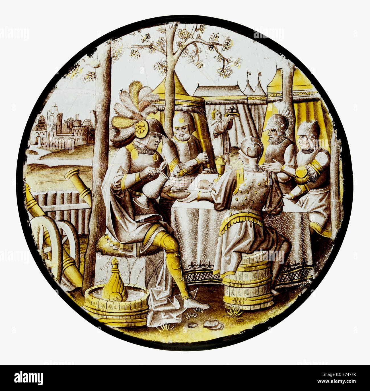 Stained Glass Roundel with Ben-Hadid and the Siege of Samaria, 1525 Stock Photo