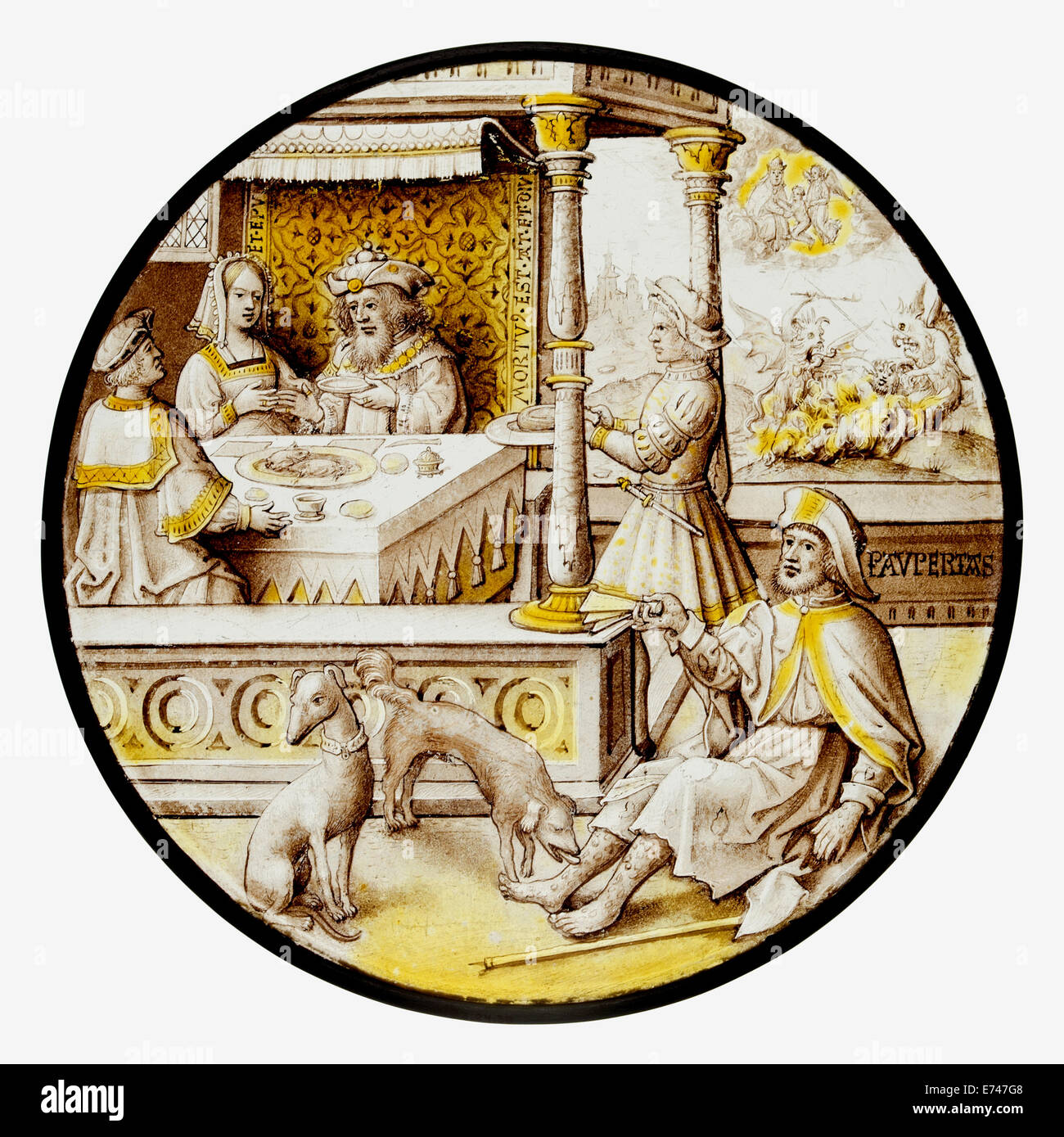 Stained Glass Roundel with Lazarus at the House of Dives, 1520 Stock Photo