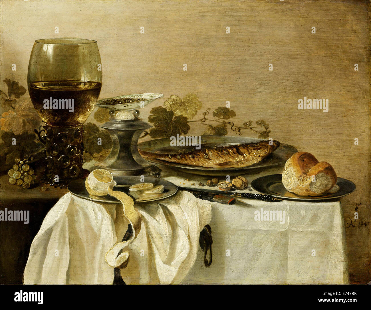 Still life with fish - by Pieter Claesz, 1647 - Stock Image