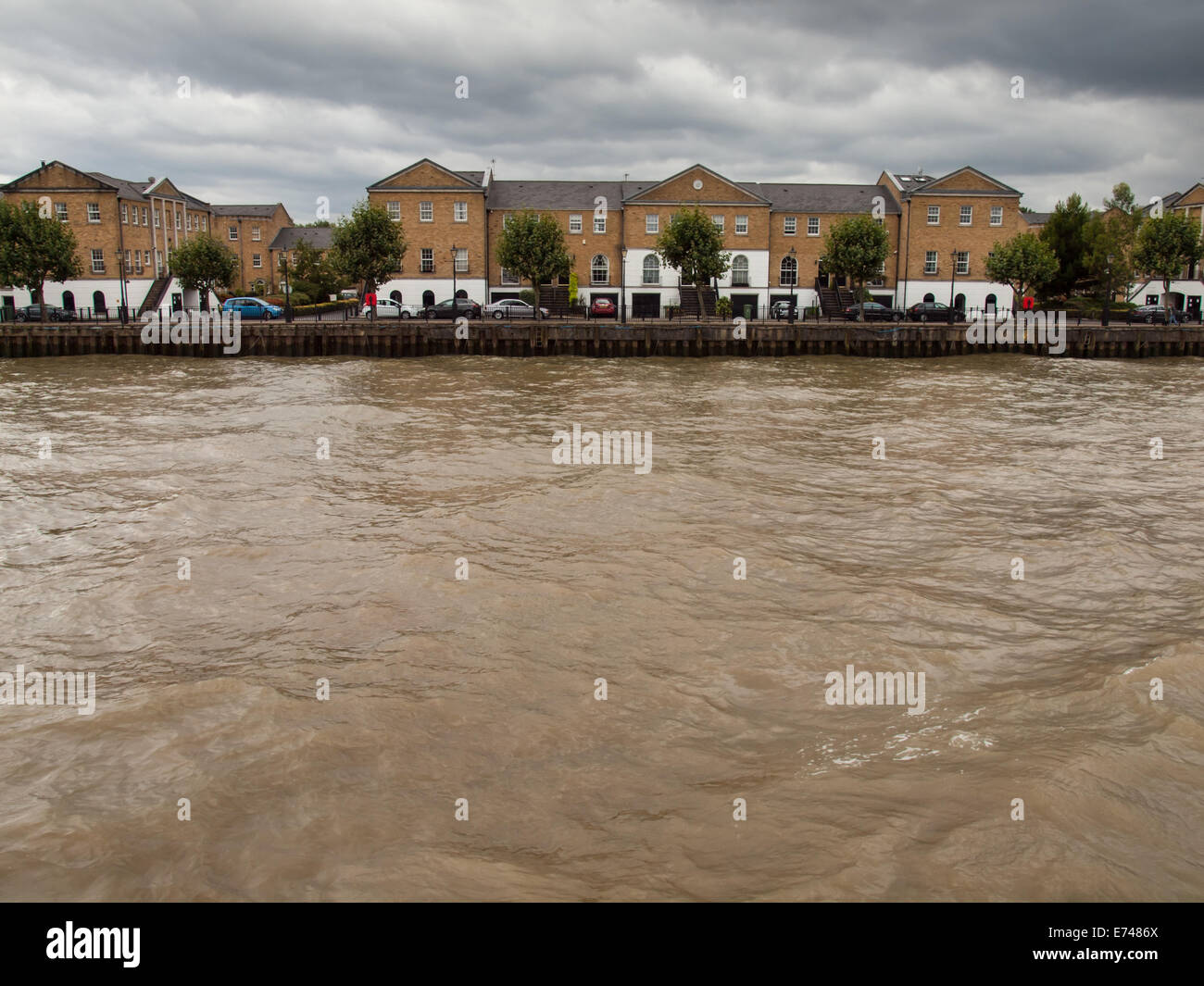 sovereign cresent rotherhithe viewed from the thames - Stock Image