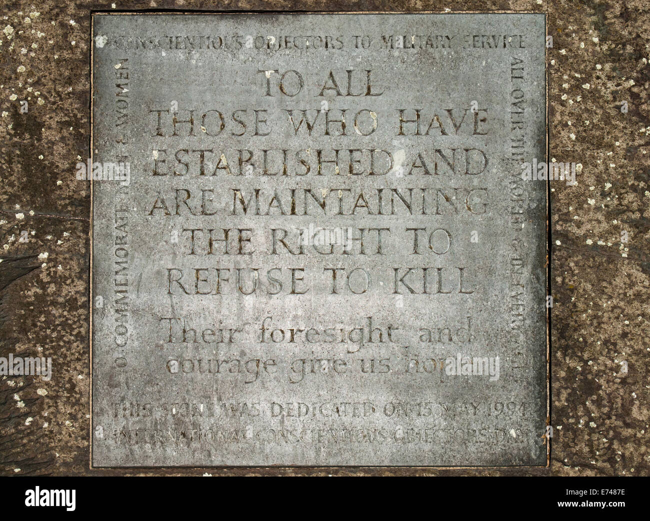 Detail of the Conscientious objector memorial, tavistock square, bloomsbury, camden london - Stock Image