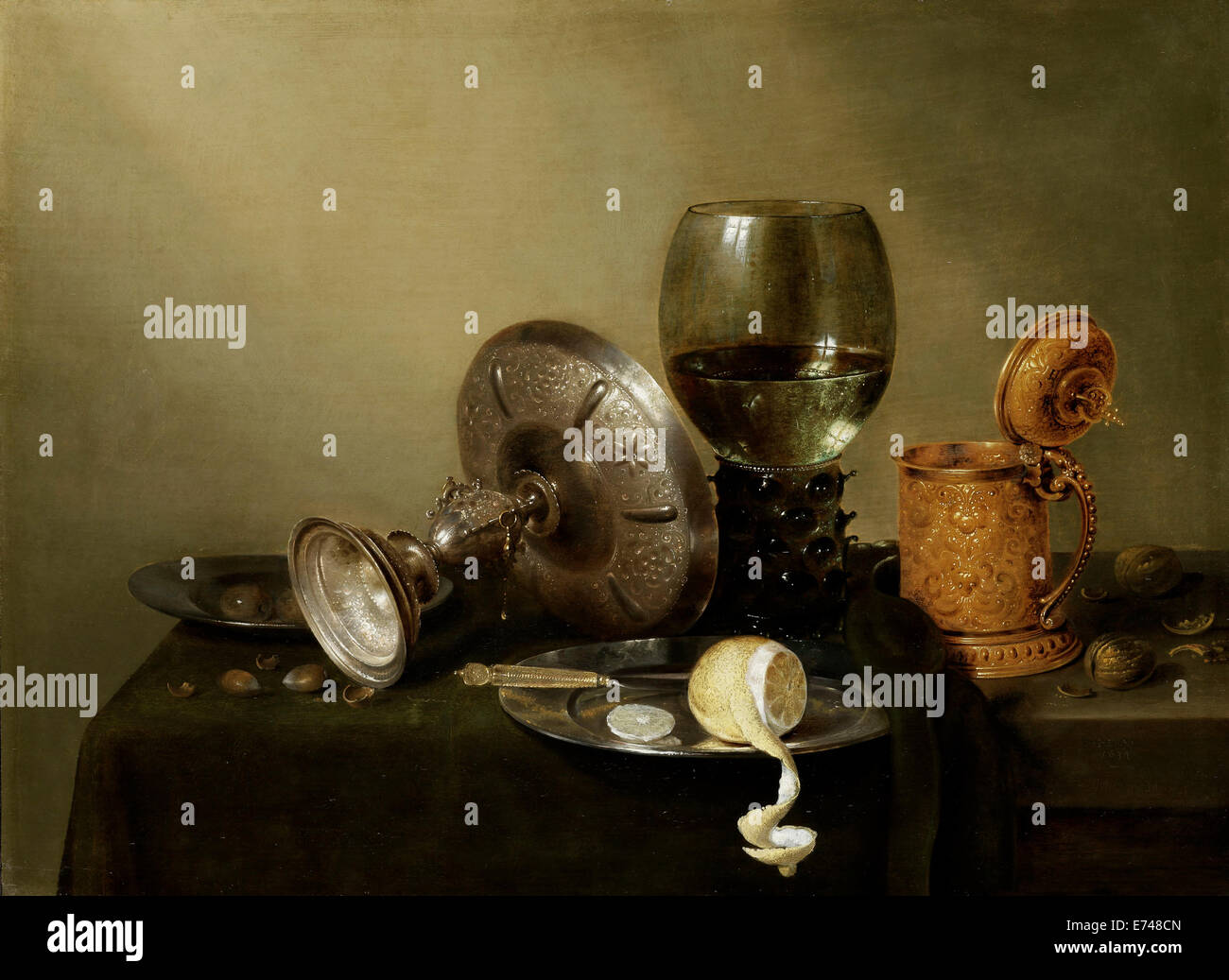 Still life with gilt beer cup - by Willem Claesz Heda, 1634 - Stock Image