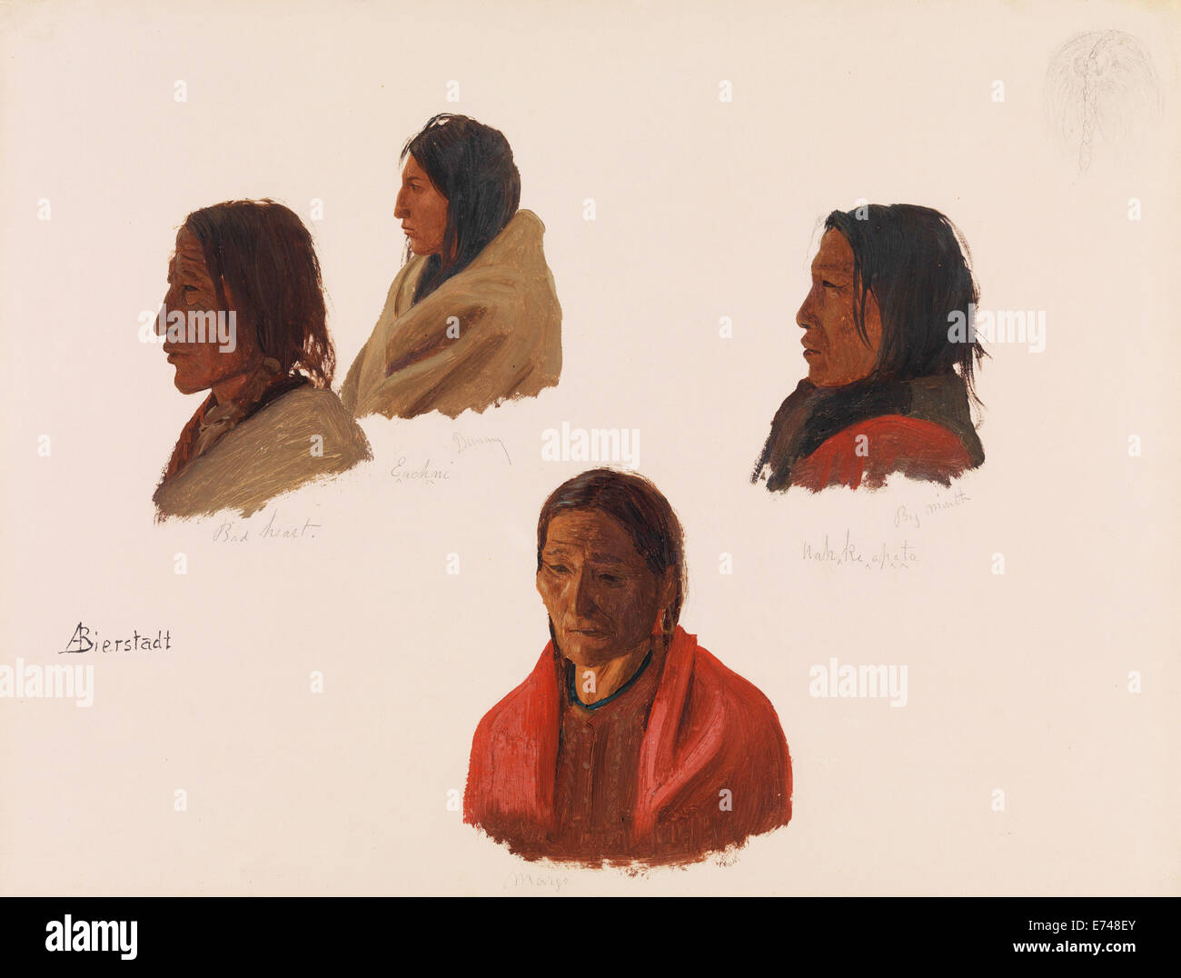 Studies of Indian Chiefs Made at Fort Laramie - by Albert Bierstadt, 1859 - Stock Image