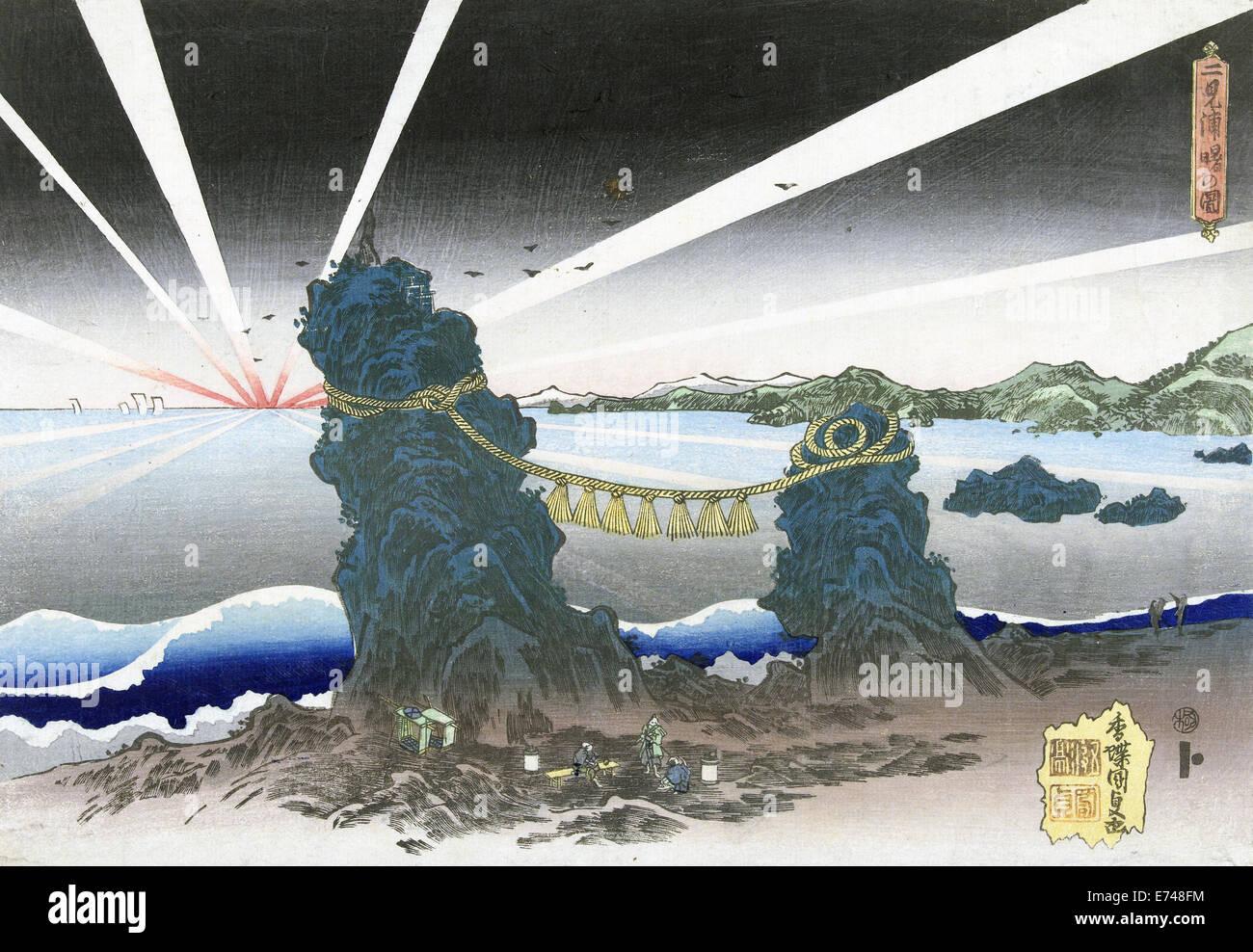 Sunrise at Futamigaura, Utagawa Kunisada, 1828 - 1832 - Stock Image