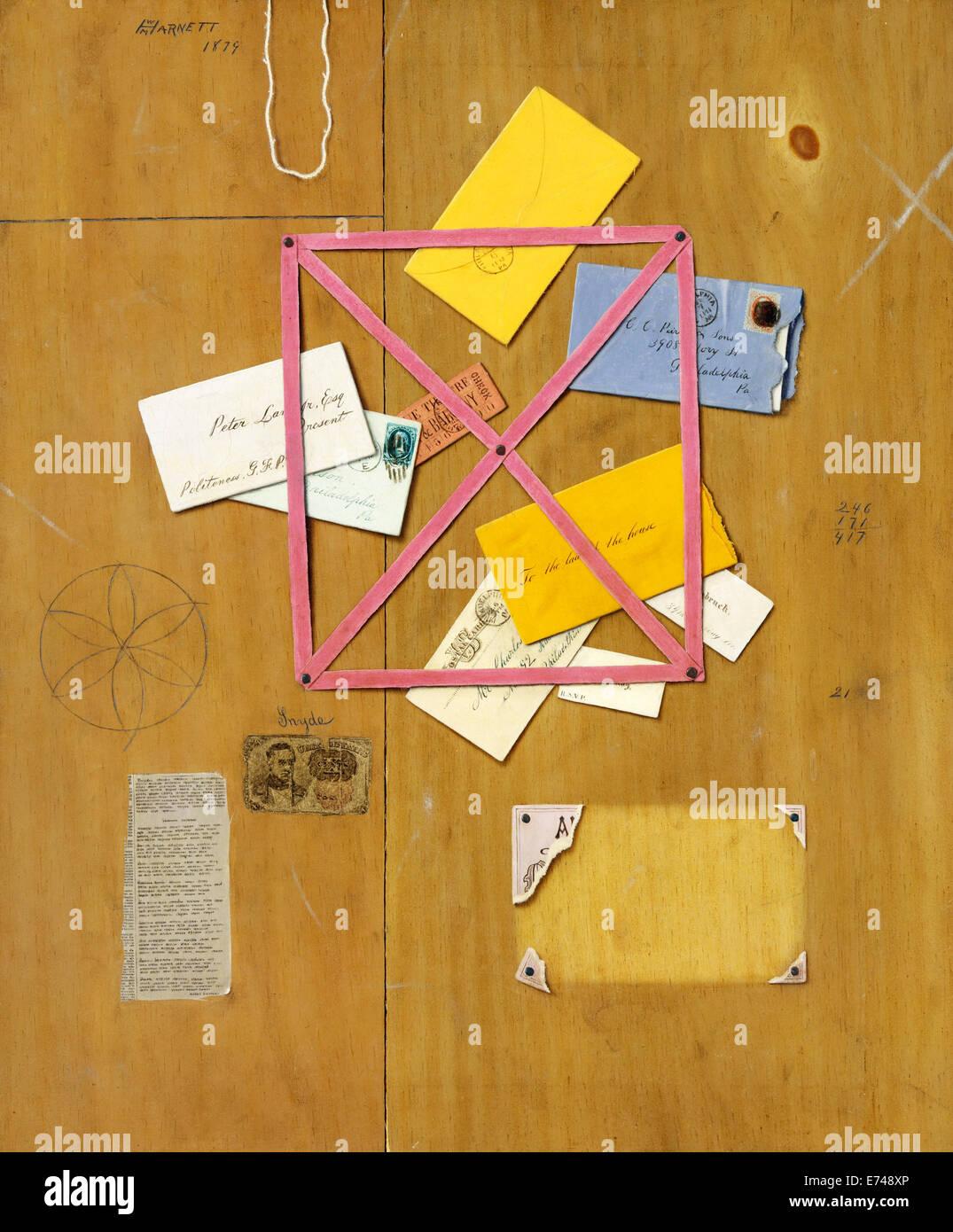 The Artist's Letter Rack - by William Michael Harnett, 1879 - Stock Image