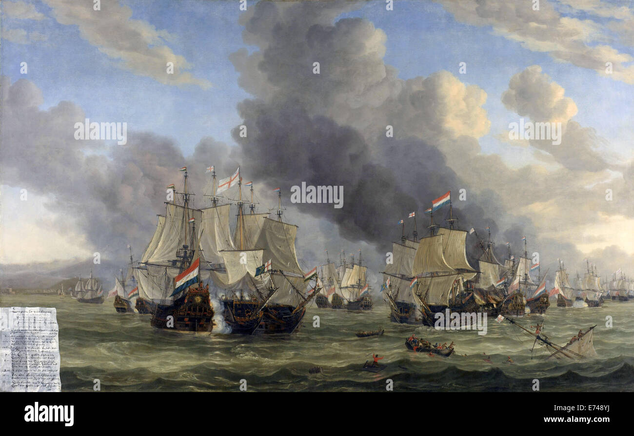 The Battle of Livorno - by Reinier Nooms, 1653 - 1664 Stock Photo
