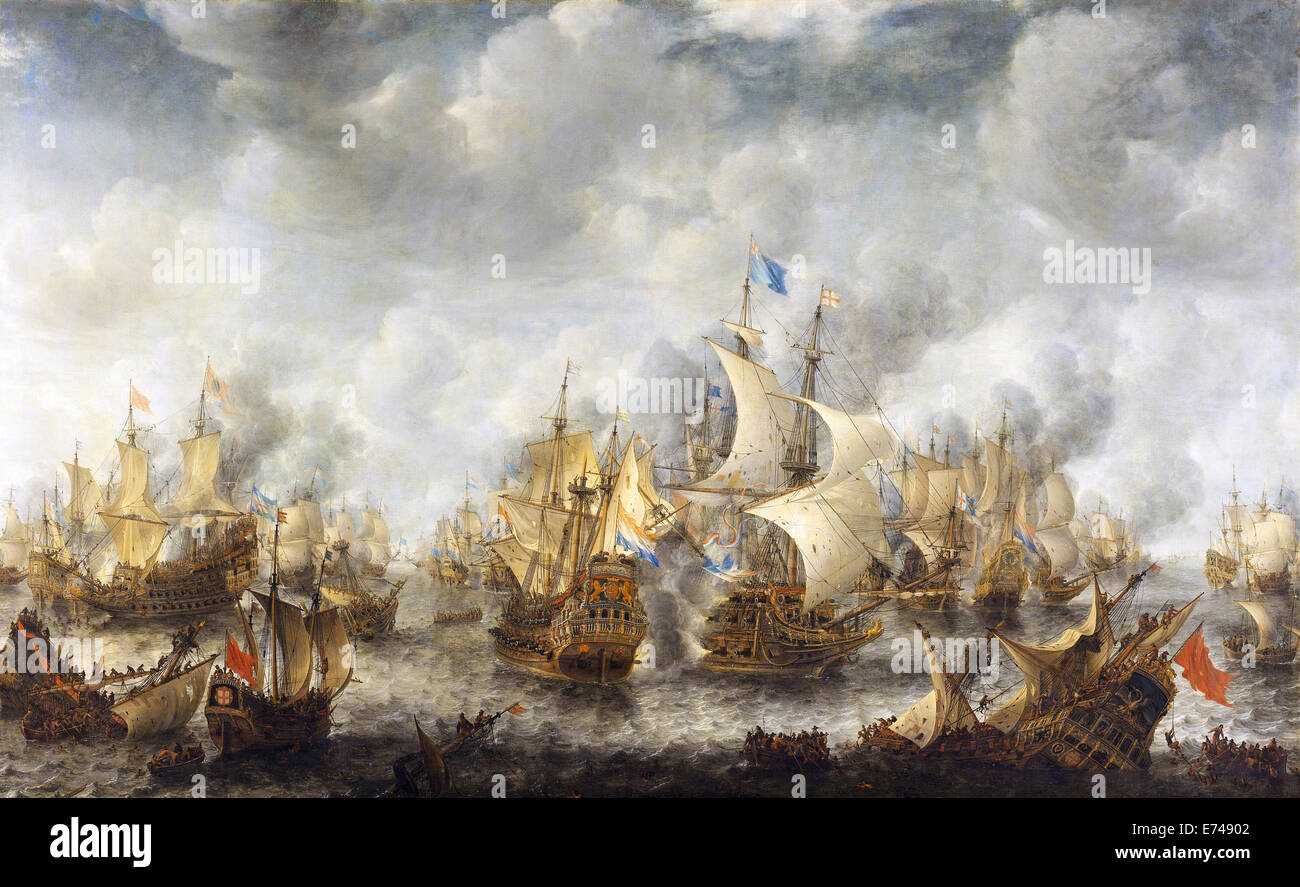 The Battle of Terheide - by Jan Abrahamsz Beerstraten, 1653 - 1666 - Stock Image
