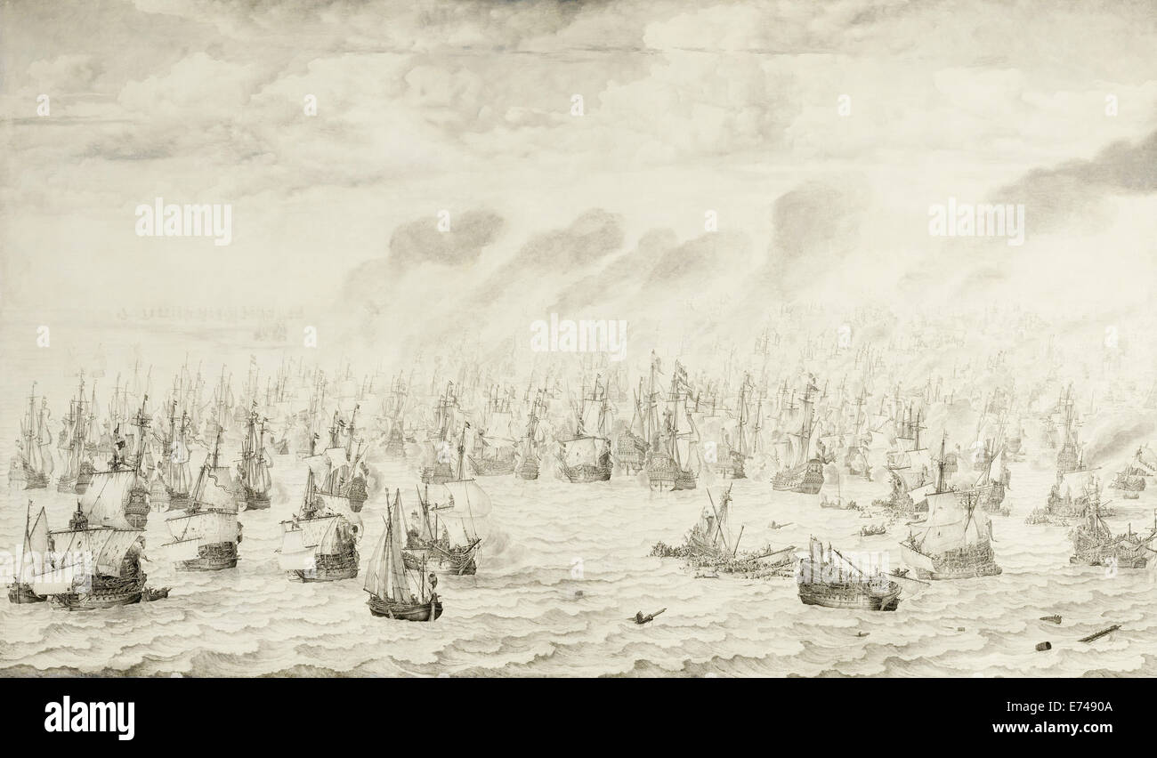 The Battle of Terheide - by Willem van de Velde, 1657 - Stock Image