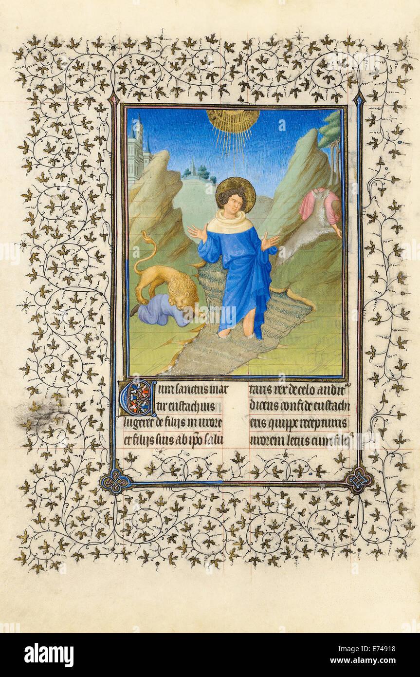The Belles Heures of Jean de France, Duc de Berry - Herman, Paul, and Jean de Limbourg, 1409 - Stock Image