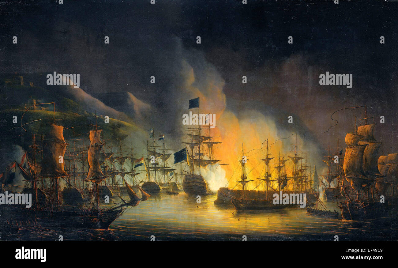 The bombardment of Algiers, in support of the ultimatum to release white slaves 26-27 August 1816 - by Martinus - Stock Image