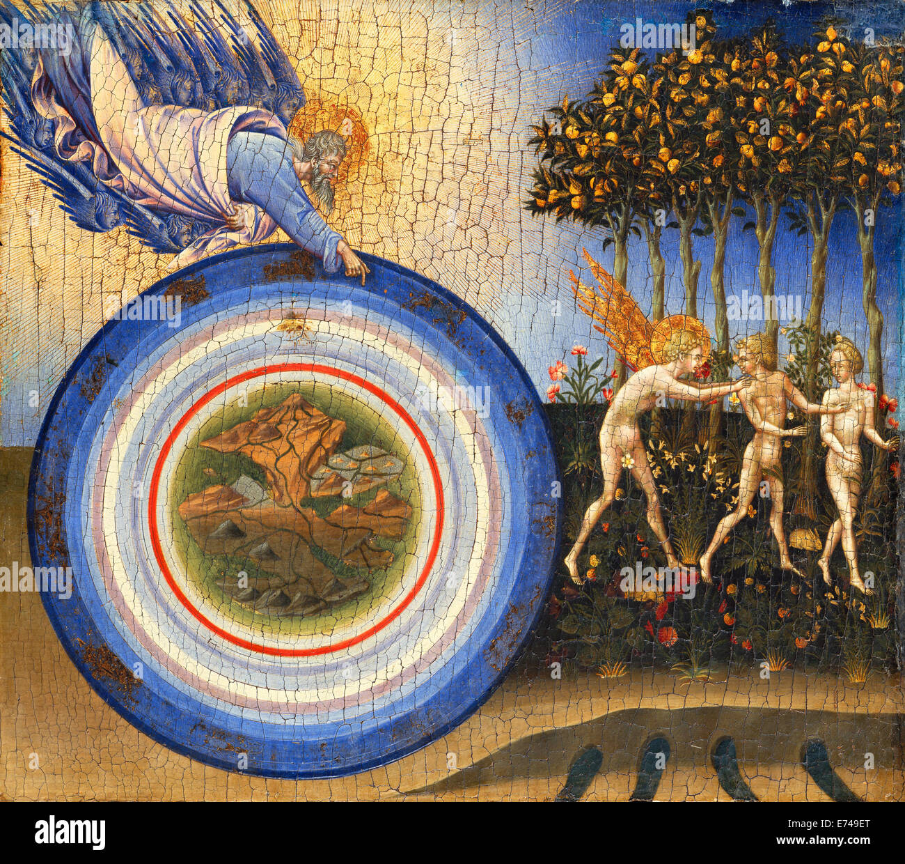 The Creation of the World and the Expulsion from Paradise - by Giovanni di Paolo, 1445 - Stock Image