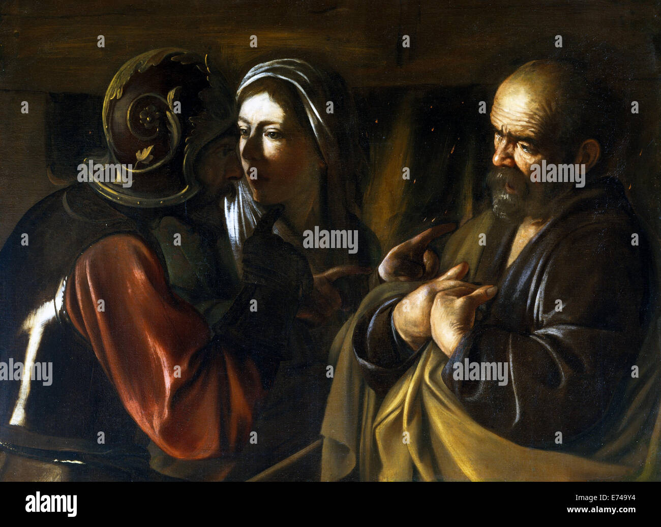 The Denial of St Peter - by Caravaggio - Stock Image