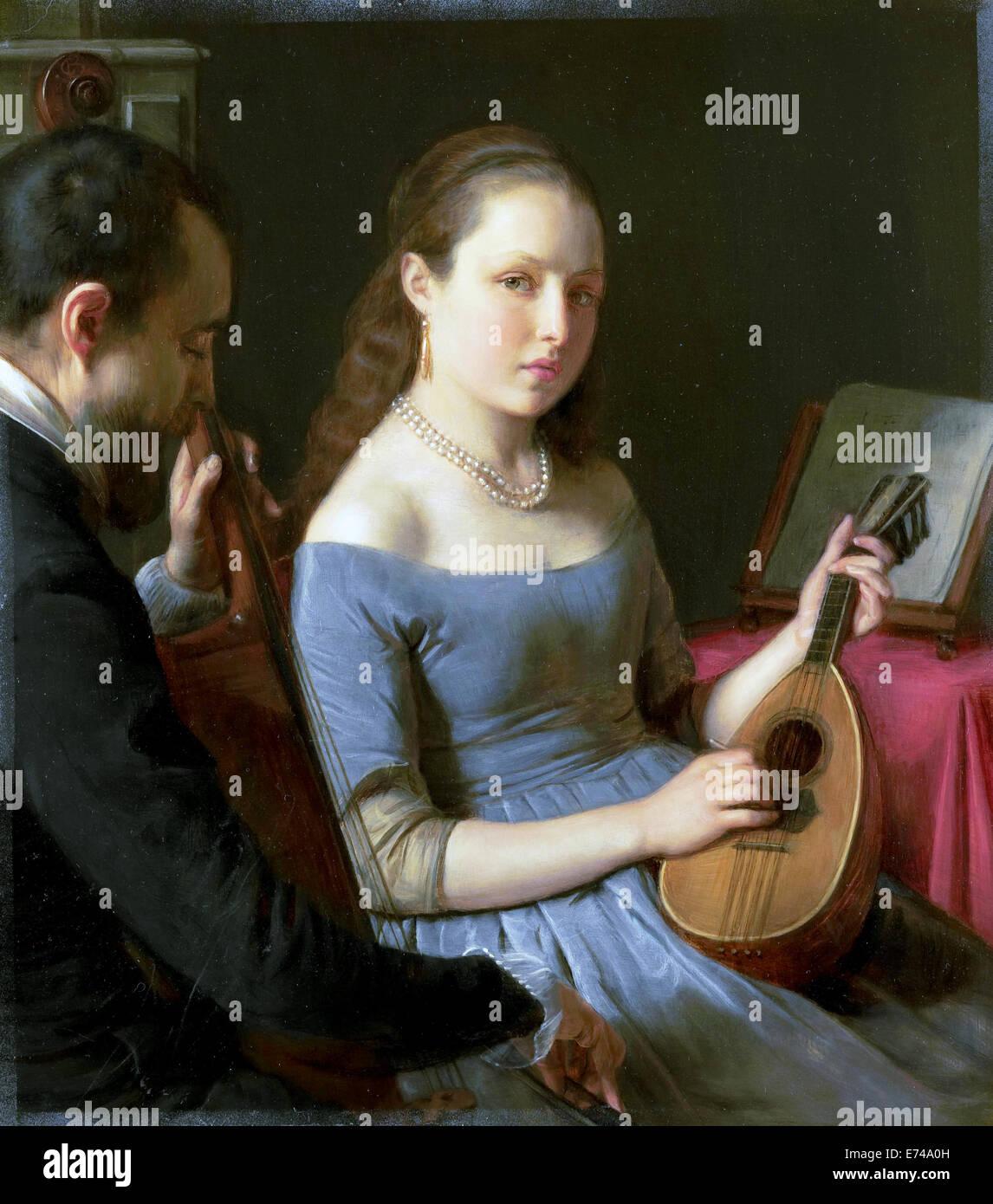 The duet - by Charles van Beveren, 1830 - 1850 - Stock Image