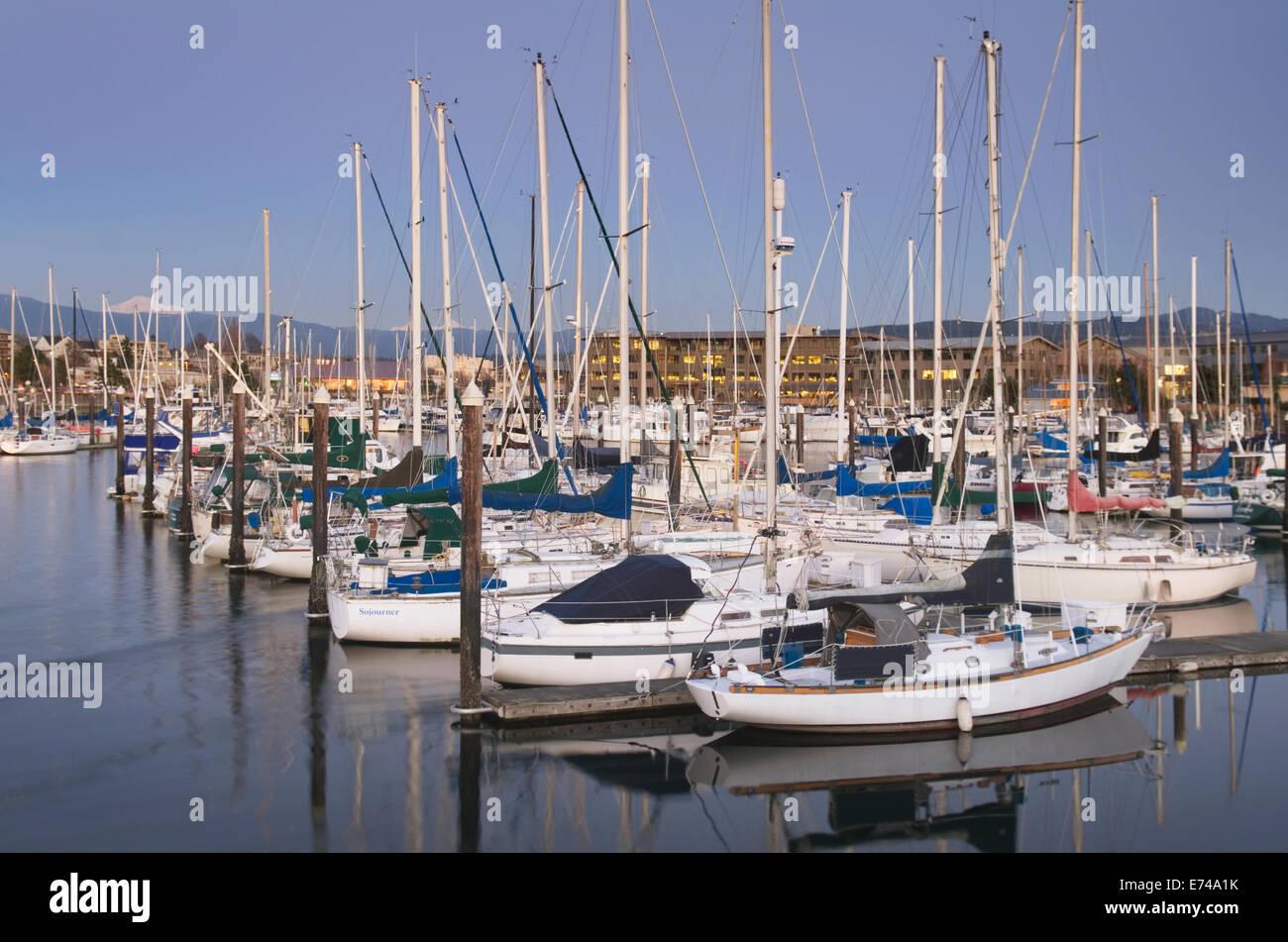 Yachts in the Squalicum Marina at dusk, Bellingham bay Washington - Stock Image
