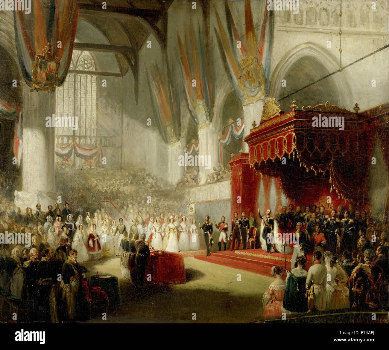 The inauguration of King William II in the Nieuwe Kerk in Amsterdam, November 28, 1840 - by Nicholas Pieneman, 1840 - Stock Image