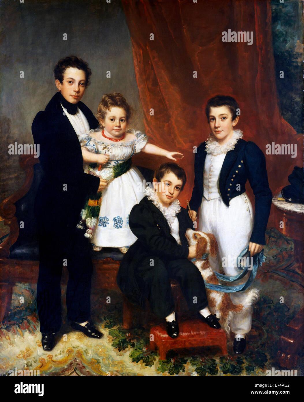 The Knapp Children - by Samuel Lovett Waldo, 1834 - Stock Image