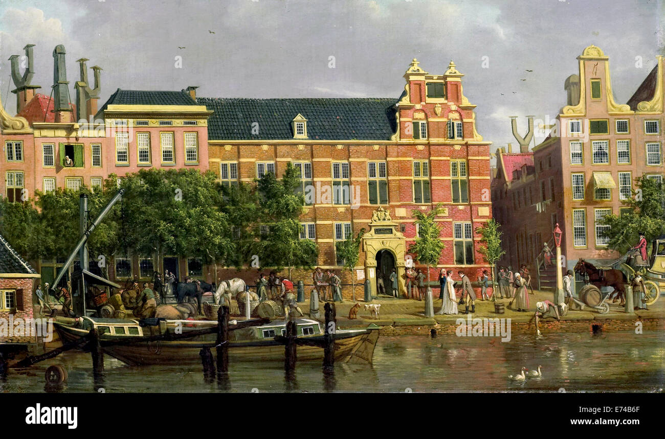 The Latin School on the Singel in Amsterdam - by Jacob Smies, 1802 - Stock Image