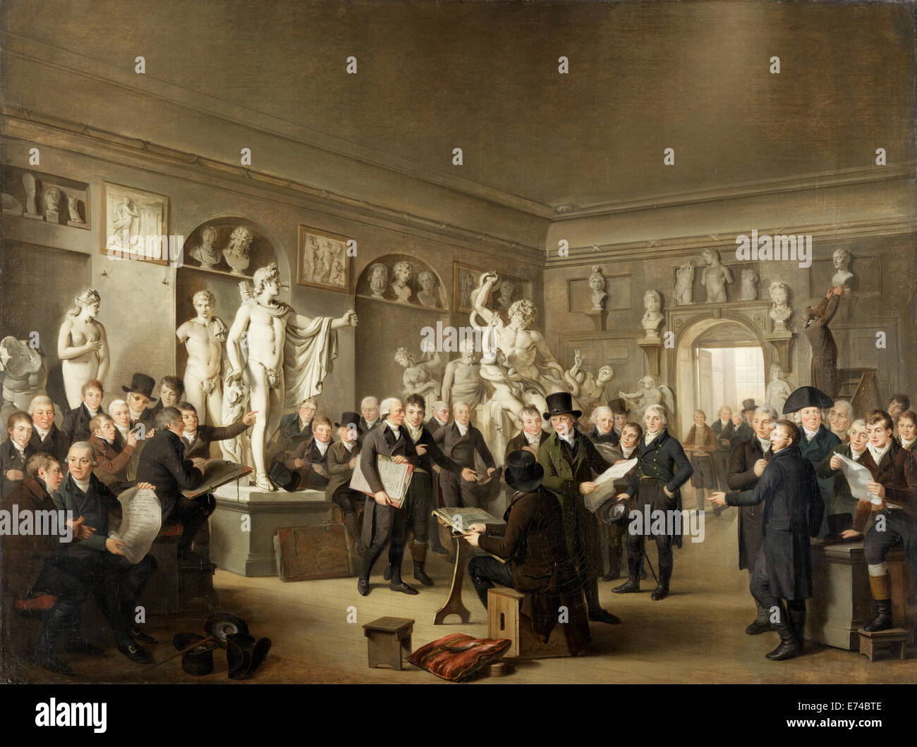 The Sculpture Gallery of the Felix Meritis Society - by Adriaan de Lelie, 1806 - 1809 - Stock Image