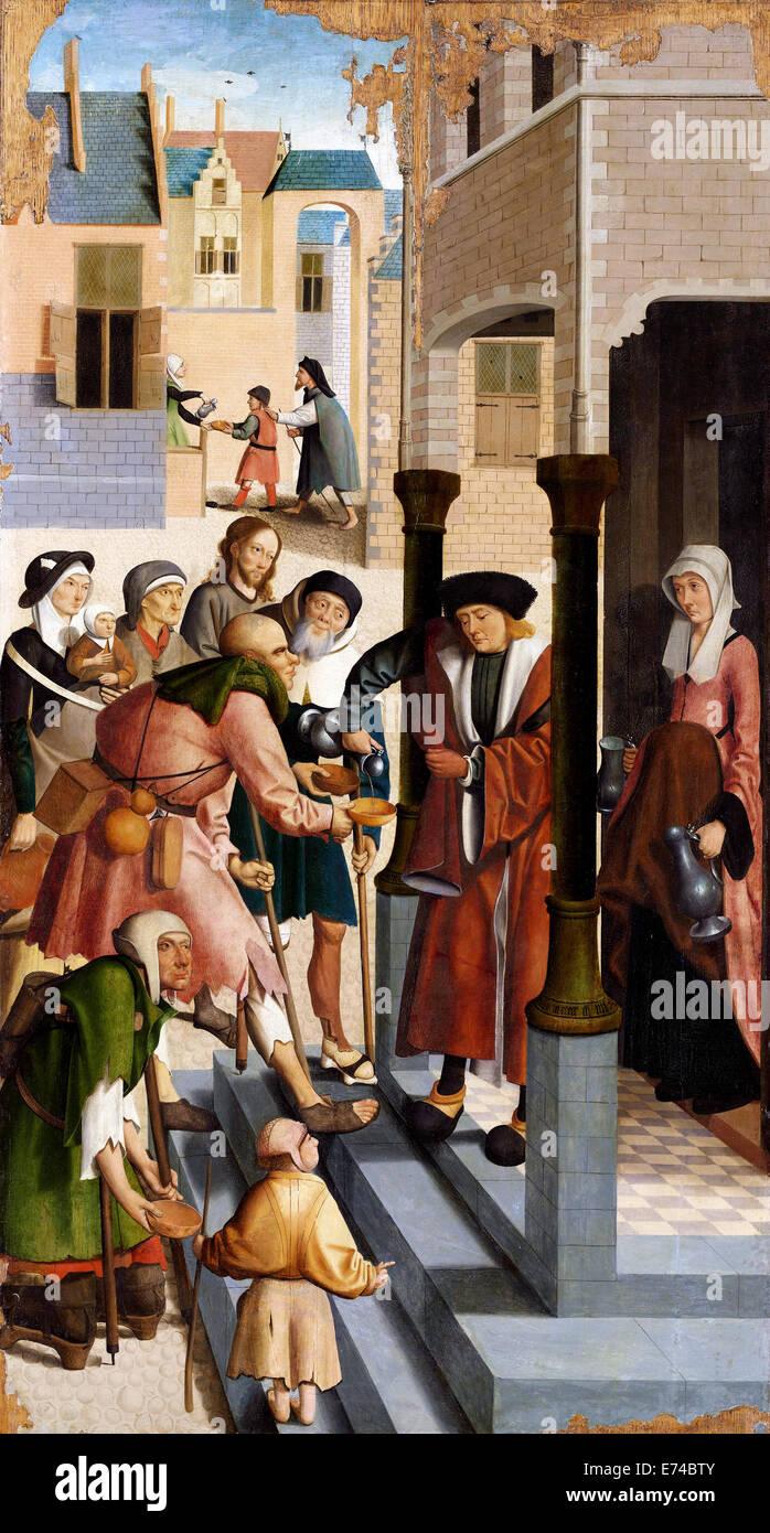 The Seven Works of Mercy - by Meester van Alkmaar, 1504 - Stock Image