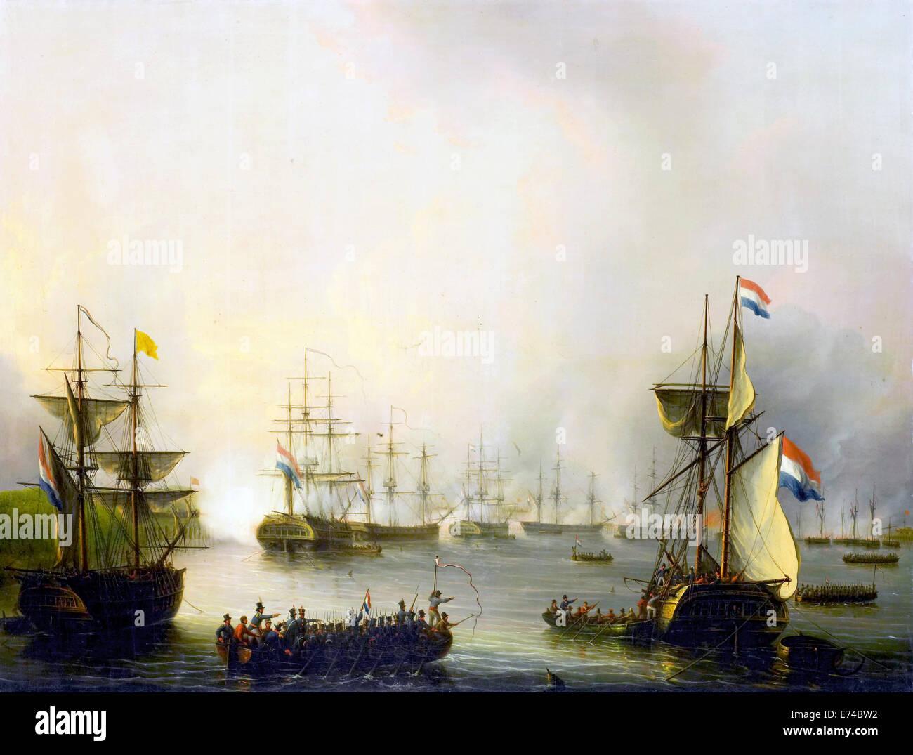 The shelling of Palembang, Sumatra, June 24, 1821 - by Martinus Schouman, 1821-1848 - Stock Image
