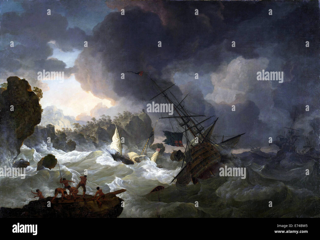 The Shipwreck - by Hendrik Kobell, 1775 - Stock Image