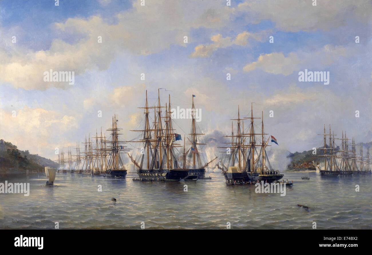 The Dutch, English, French and American squadrons in Japanese waters - by Esquire Jacob Eduard van Heemskerck van - Stock Image