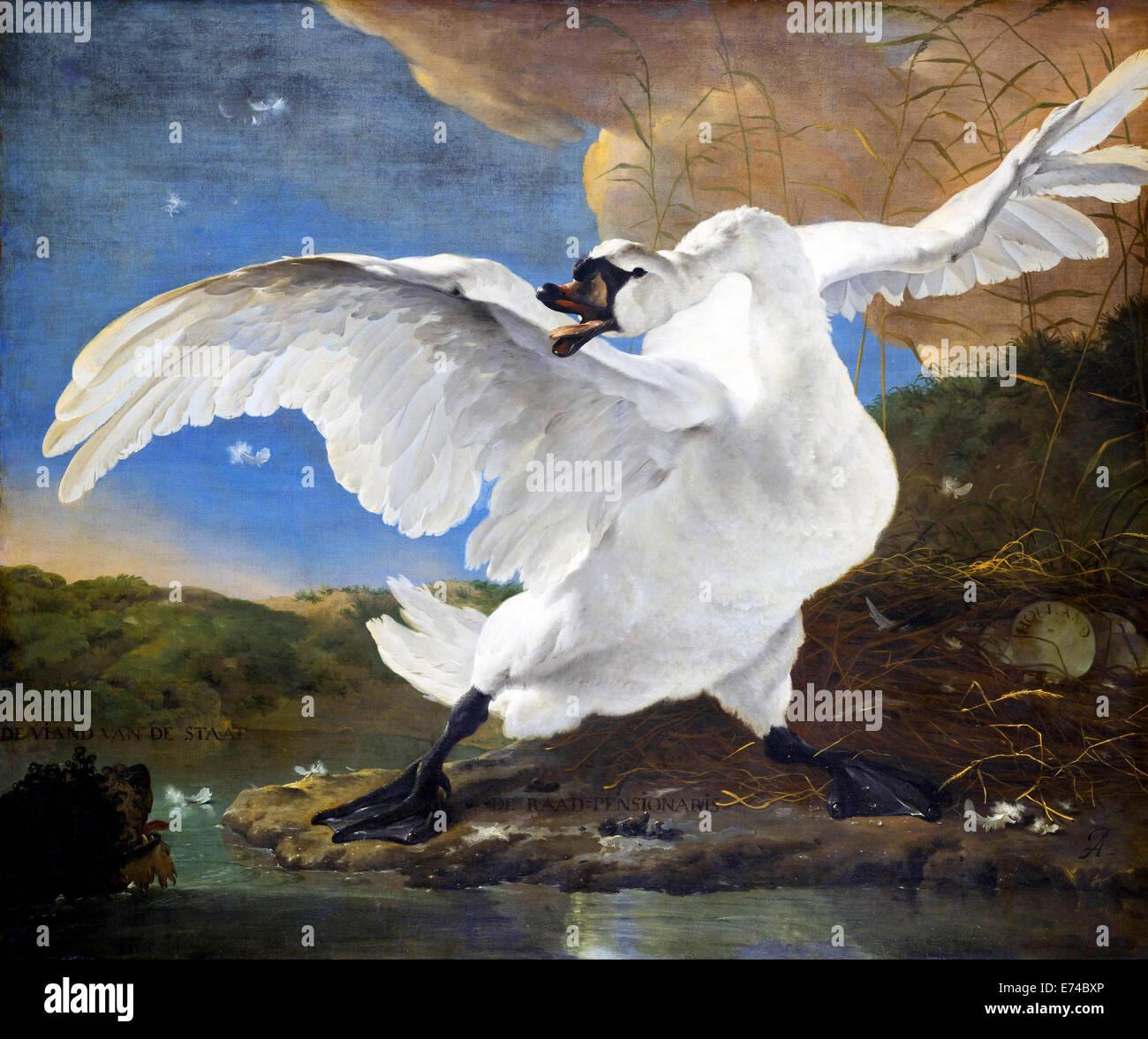 The Threatened Swan - by Jan Asselijn, 1650 - Stock Image